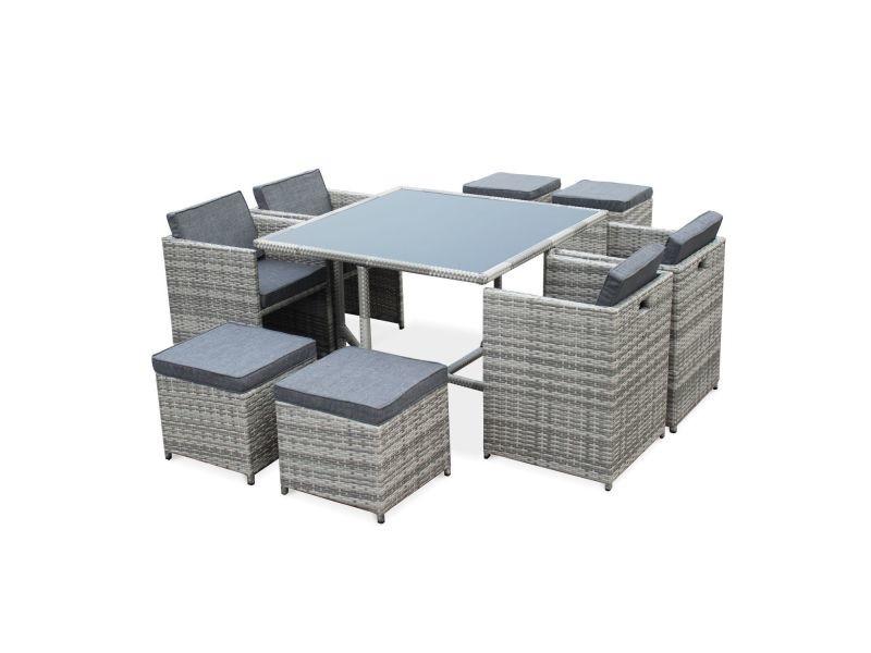 99a86968acbea Salon de jardin vasto nuances de gris table en résine tressée 4 à 8 places
