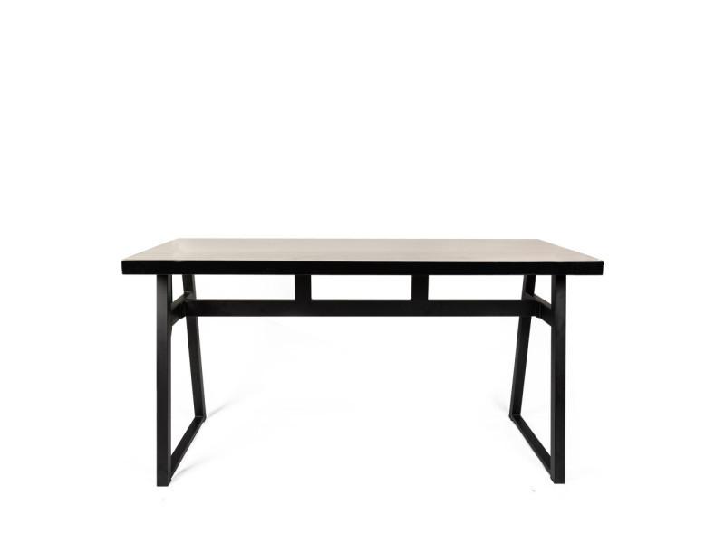 Revel - table à manger industrielle métal et bois - couleur - bois foncé / noir SM-WF1101(200*75)
