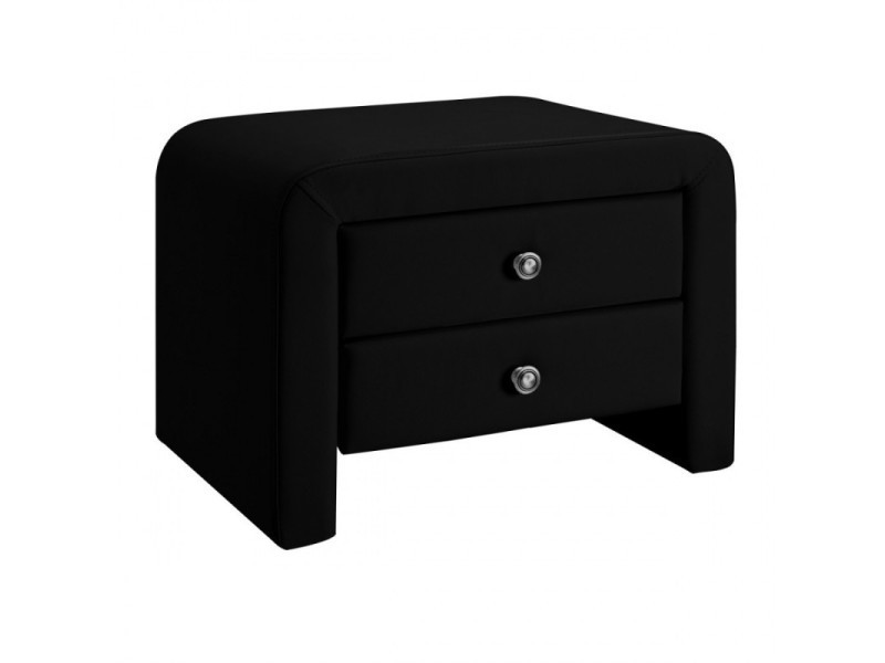 Table chevet design en simili cuir eva - noir