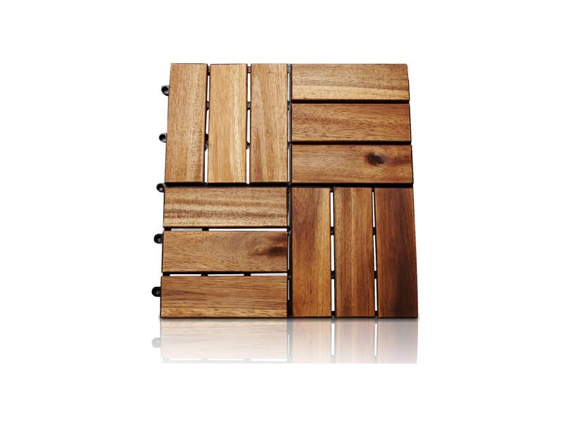 Dalle de terrasse clipsable en bois 31 x 31 cm hobby tech