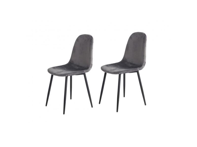 Lot de 2 chaises velours gris anthracite - biba