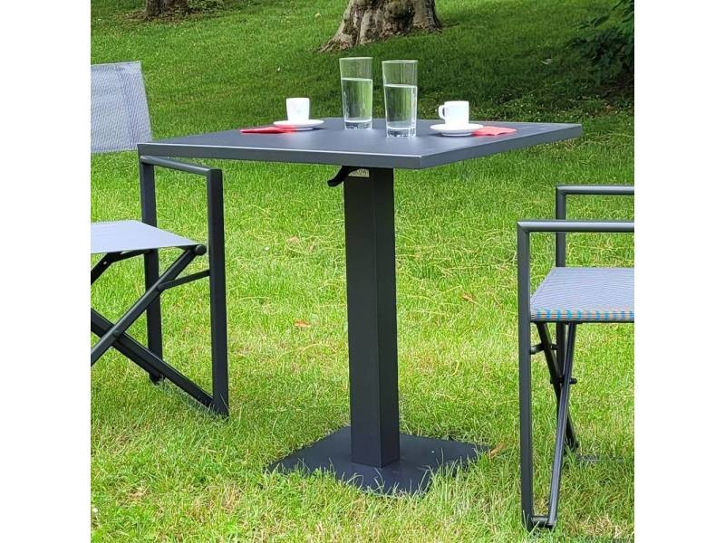 Table pliante carrée en alu anthracite 70 x 70 cm otrante