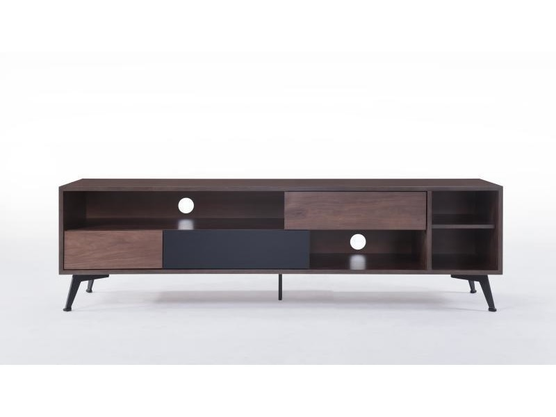 meuble tv noyer 3 tiroirs 4 niches fuzz vente de delorm conforama. Black Bedroom Furniture Sets. Home Design Ideas