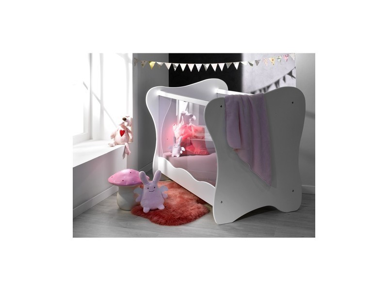 lit b b plexiglas iris vente de chambrekids conforama. Black Bedroom Furniture Sets. Home Design Ideas