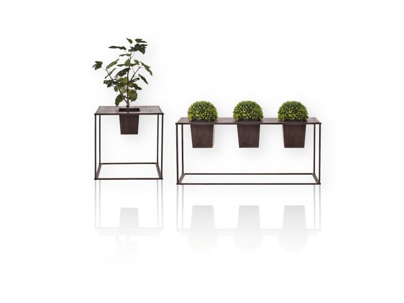 [casa.pro] set de 2 bacs à fleur avec support métal brun foncé 2 tailles dans le 1: 39 x 85 x 24cm 2: 46 x 45 x 45cm extérieure