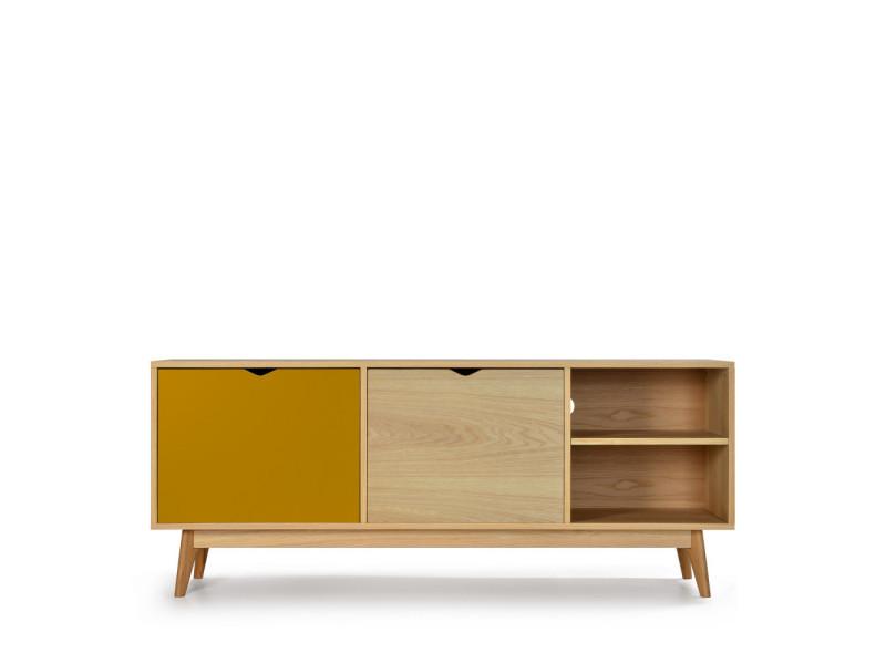 Ström - meuble tv design 2 portes chêne - couleur - ocre