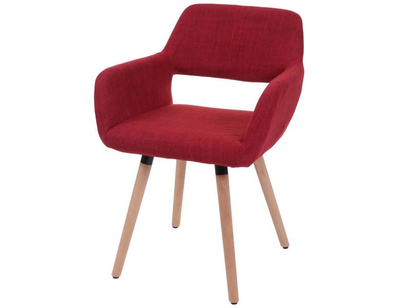 6x chaise de salle à manger hwc-a50 ii, fauteuil, design rétro des années 50 ~ tissu, rouge pourpre