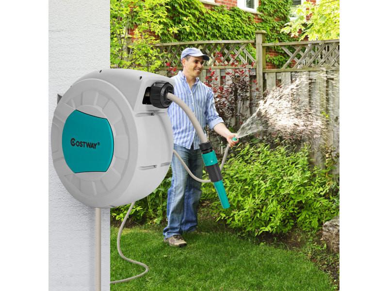 Giantex enrouleur de tuyau à eau rétractable 1/2\