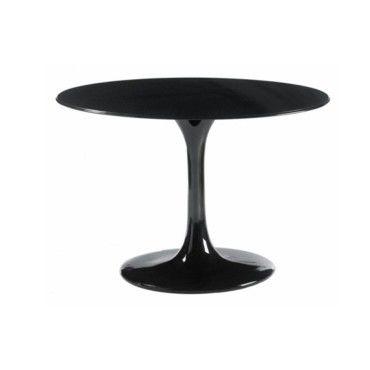 table ronde de repas design tulipe laqu e noir 90 cm 20100827346 conforama. Black Bedroom Furniture Sets. Home Design Ideas