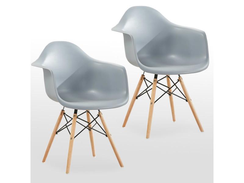 Lot de 2 chaises scandinaves moda romano grises