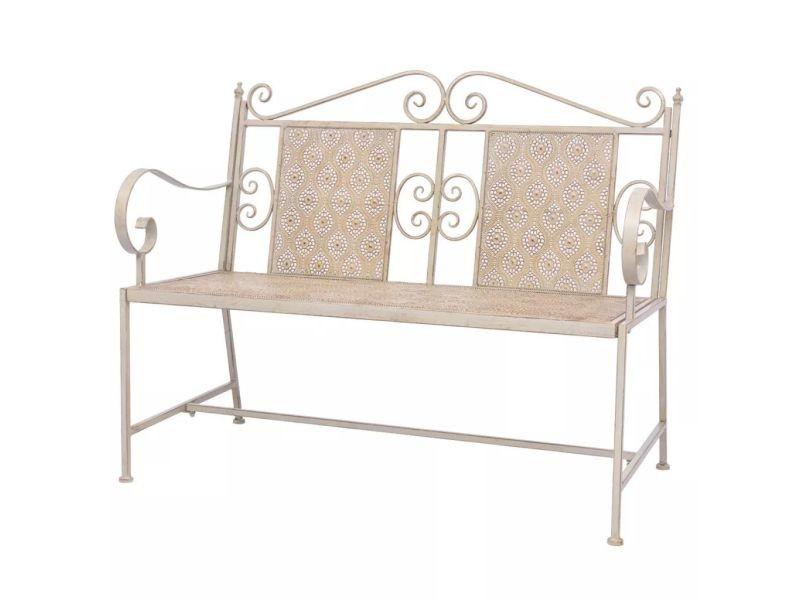 Joli sièges d'extérieur famille damas banc de jardin acier 115 x 58,5 x 93 cm blanc