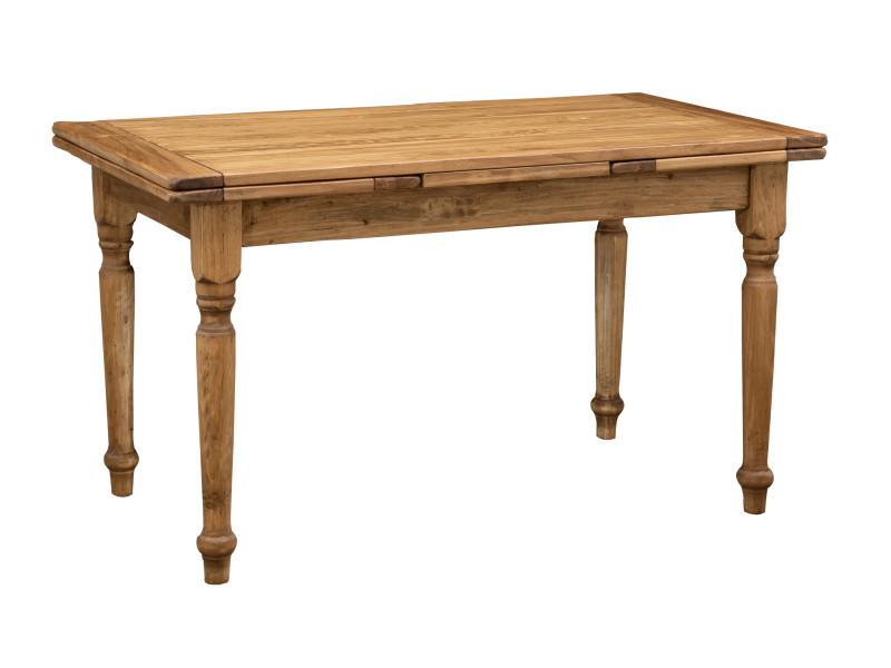 Table rallonge champêtre en bois massif de tilleul massif, finition naturelle