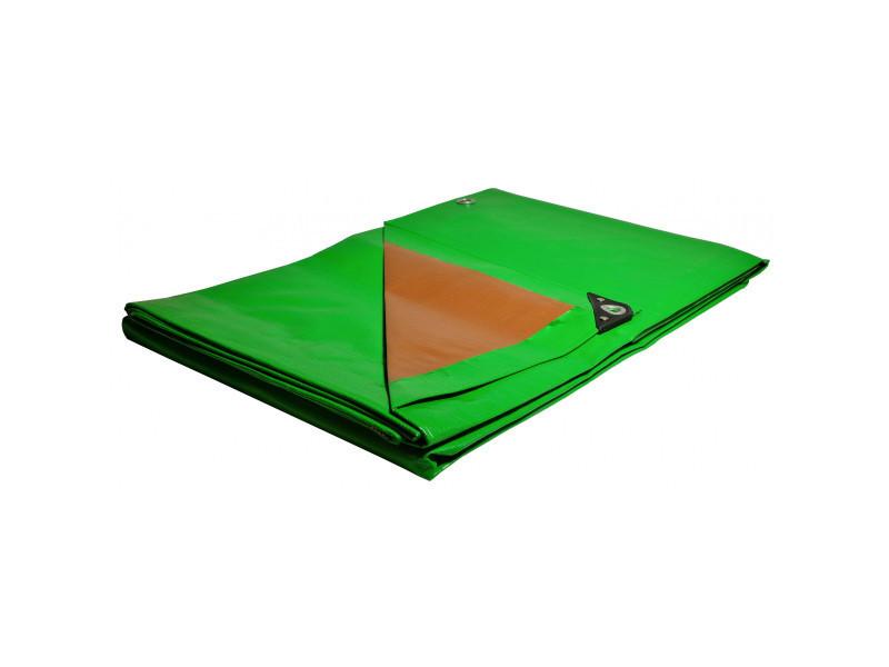 Bâche terrasse 4x5 m 250g/m² traitée anti uv bâche de terrasse verte et marron en polyéthylène haute qualité