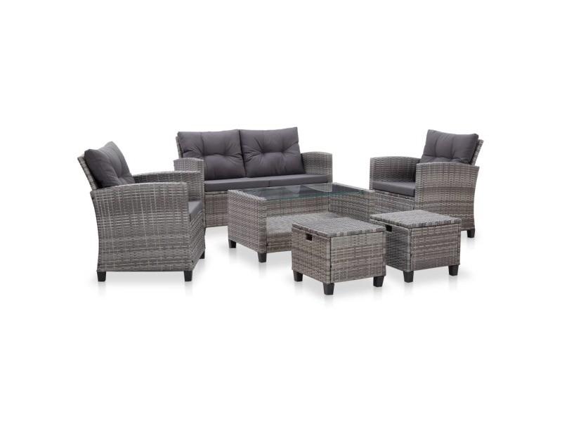 Superbe sièges de jardin selection achgabat salon de jardin 6 pcs avec coussins résine tressée gris foncé