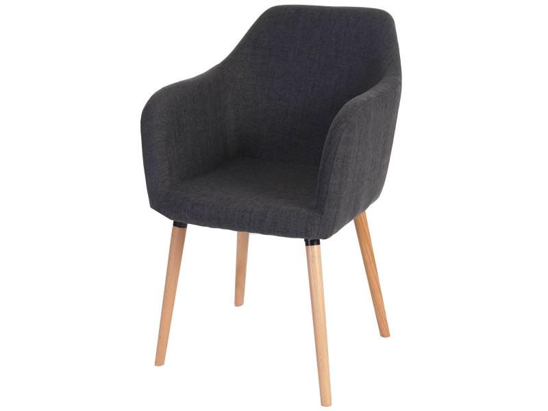 6x chaise de séjour / salle à manger malmö t381, style rétro des années 50 ~ tissu, gris
