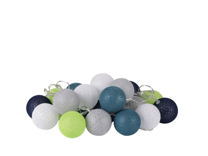 Guirlande lumineuse 20 boules fresh - diam. 6 cm - bleu, gris et blanc