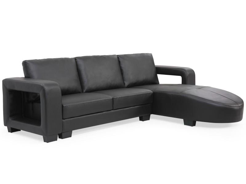Canapé d'angle en simili cuir matha noir