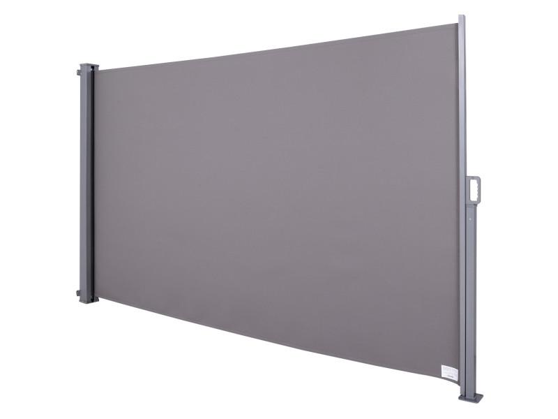 Store latéral brise-vue paravent rétractable dim. 3l x 1,80h m alu. Polyester anti-uv haute densité 280 g/m² gris