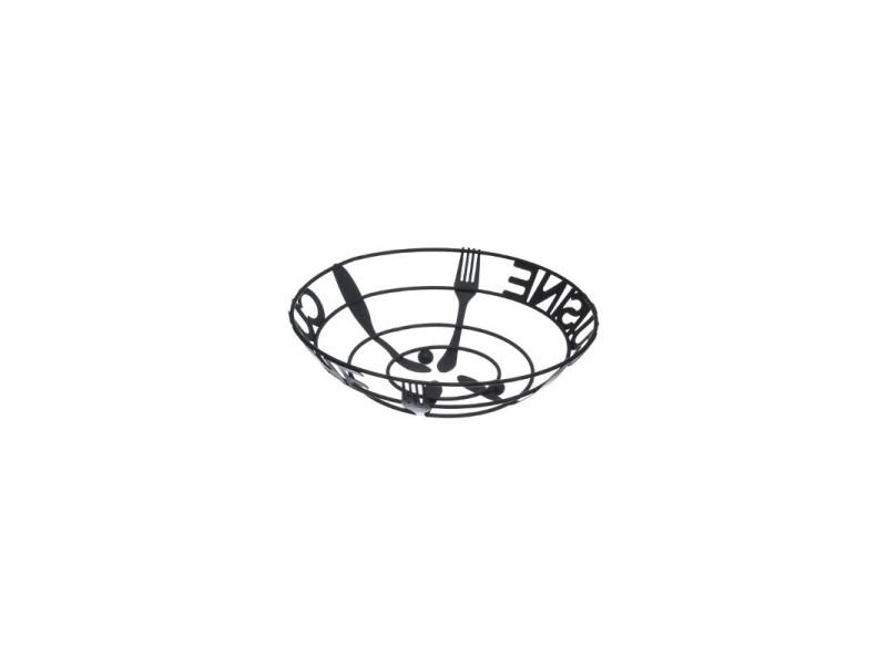 Corbeille à fruits en métal - cuisine - d 18 x h 9 cm - noir