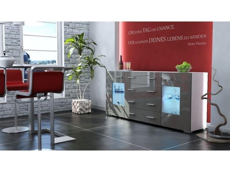 Buffet design blanc mat et gris laqué avec led 166 cm