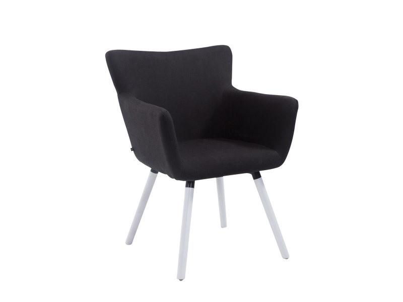 Chaise visiteur antwerpen tissu , noir /blanc