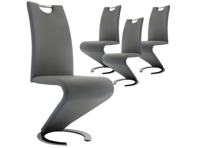 Lot de 4 chaises gris design hugo vente de chaise conforama