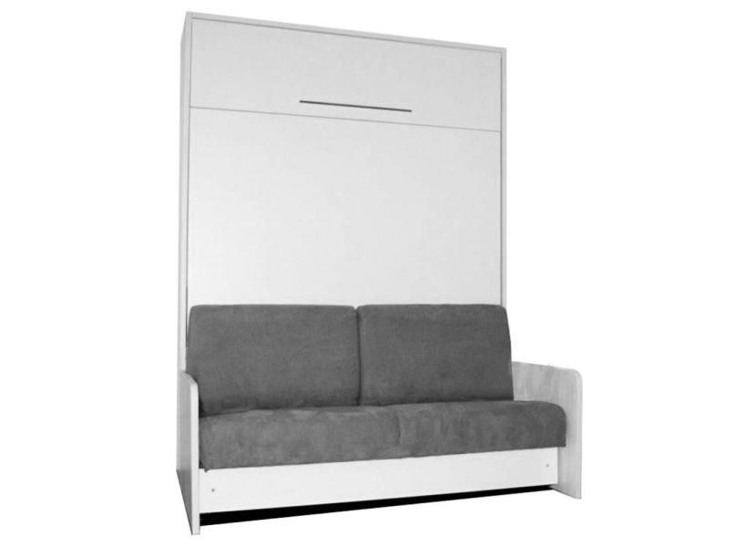 space sofa fast armoire lit escamotable 140cm blanche avec canap microfibre grise 20100833915. Black Bedroom Furniture Sets. Home Design Ideas
