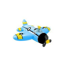 Avion bleu gonflable à chevaucher avec pistolet à eau