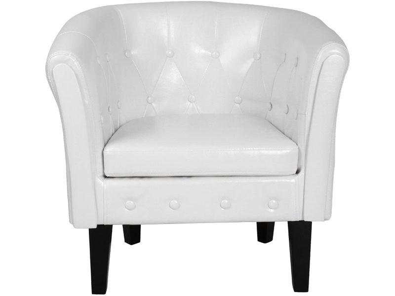 Fauteuil chesterfield en simili cuir et bois avec éléments décoratifs touffetés chaise cabriolet meuble de salon blanc helloshop26 01_00000105