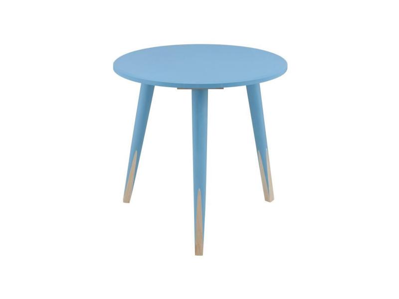 Pencil bout de canapé/table d'appoint ronde style scandinave bleu et naturel - l 40 x l 40 cm
