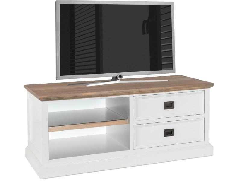 Meuble tv blanc contemporain en bois massif pin et bois ...