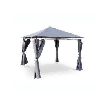 Tente de jardin pergola 3x3m tolosa toile grise barnum tonnelle chapiteau