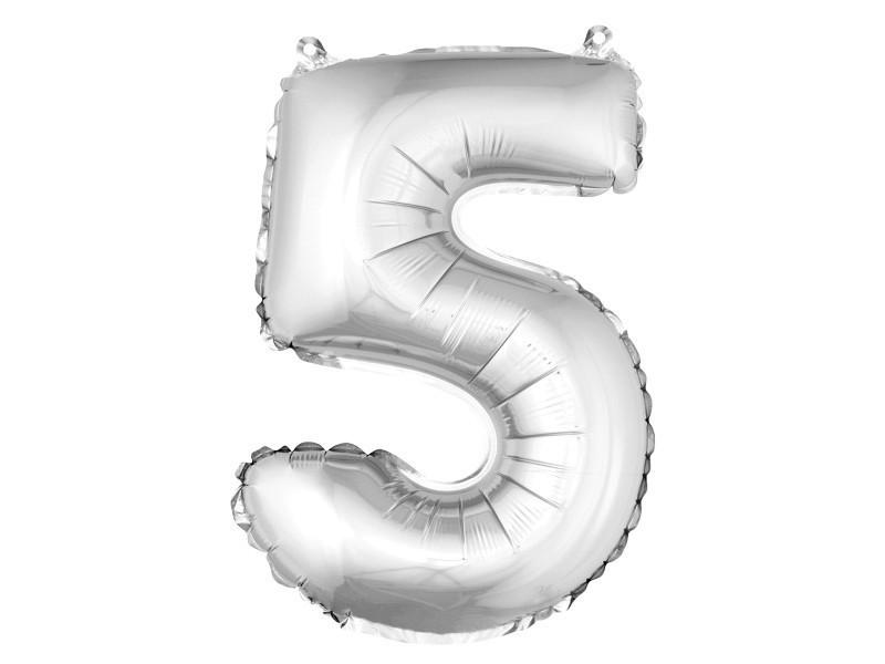 Lot de 12 ballons unis métallisés en aluminium argent chiffre 5 - h 36 cm