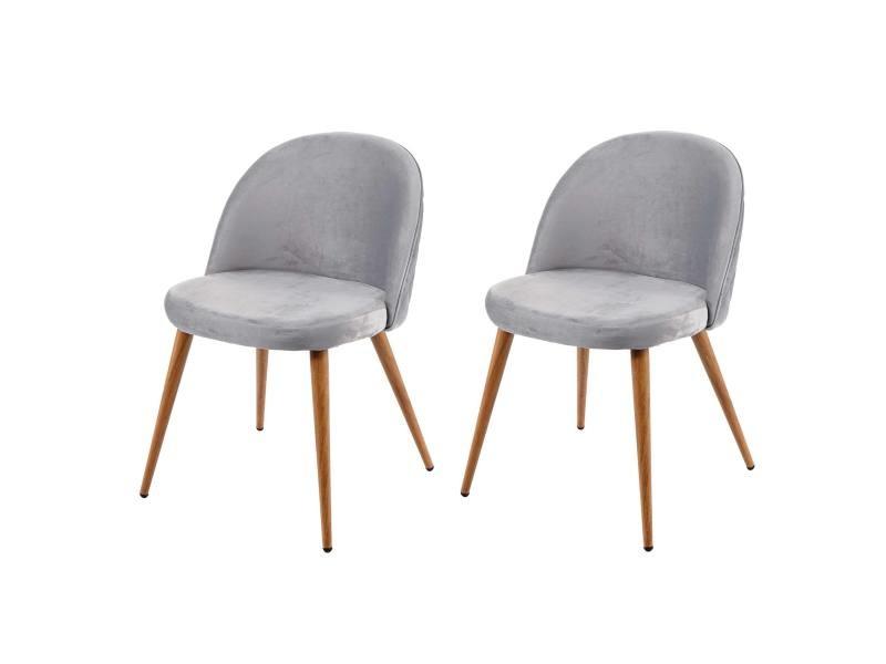2x chaise de salle à manger hwc-d53, fauteuil, style rétro années 50, en velours ~ gris clair