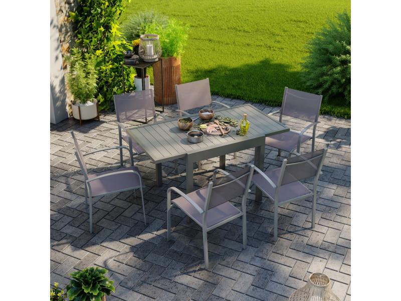 Table de jardin extensible aluminium 83/145cm + 6 fauteuils empilables textilène gris taupe - milo