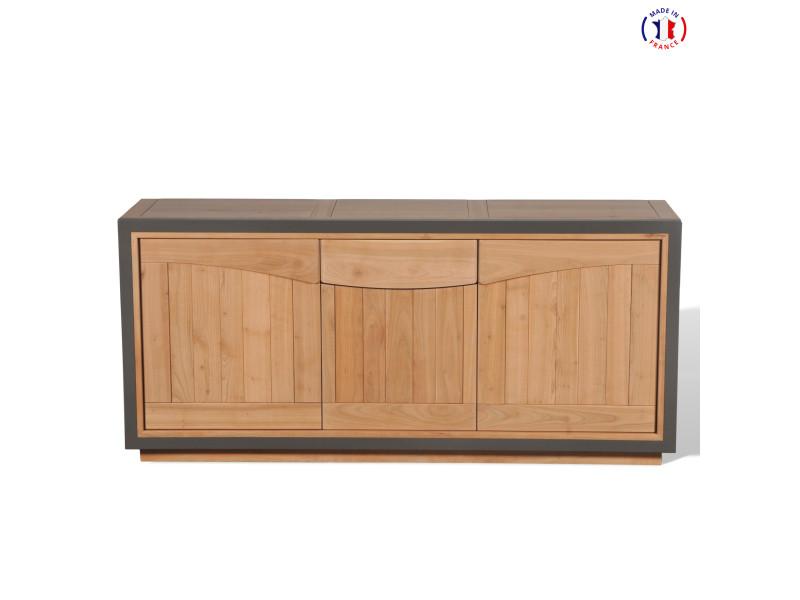 Buffet 3 portes bois massif merisier naturel et gris taupe-100% made in france
