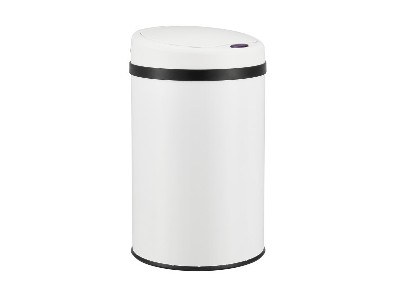 Poubelle automatique hygiénique sans contact bac à ordures pour cuisine à capteur fonction manuelle acier inox plastique abs 30 litres 51 x 31 cm blanc [en.casa]