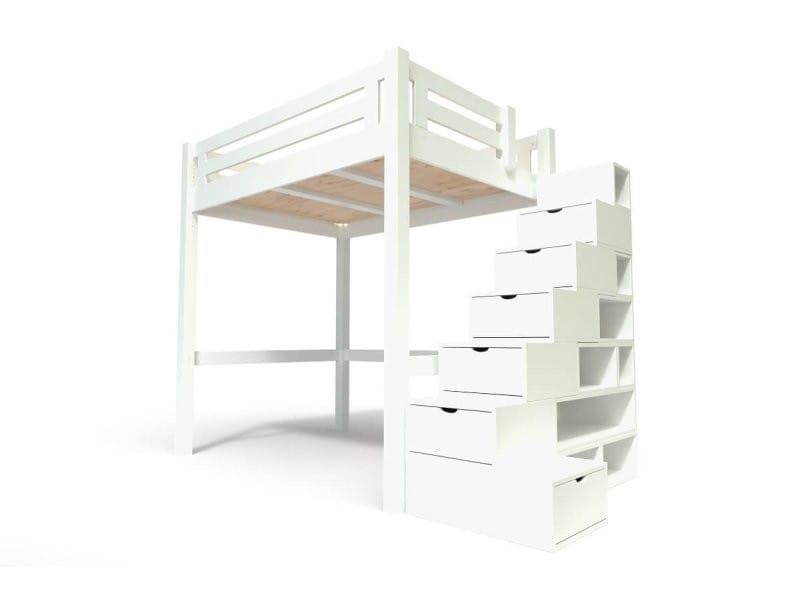 Lit mezzanine alpage bois + escalier cube hauteur réglable 140x200 blanc ALPAG140CUB-LB
