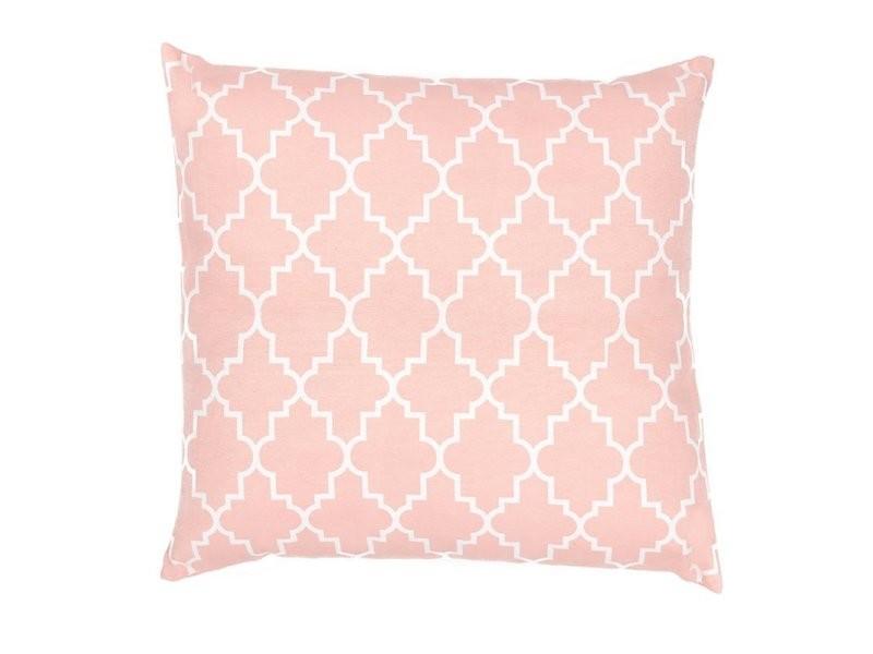 Housse de coussin 39 x 39 cm déhoussable imprimé motifs géométriques art déco blancs rose