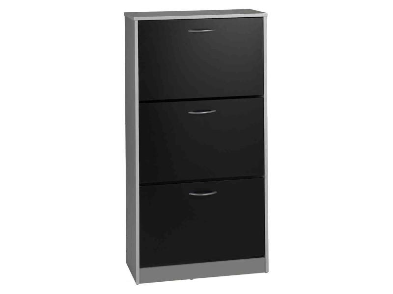 Meuble à chaussures 3 tiroirs en bois noir et gris - mc4012