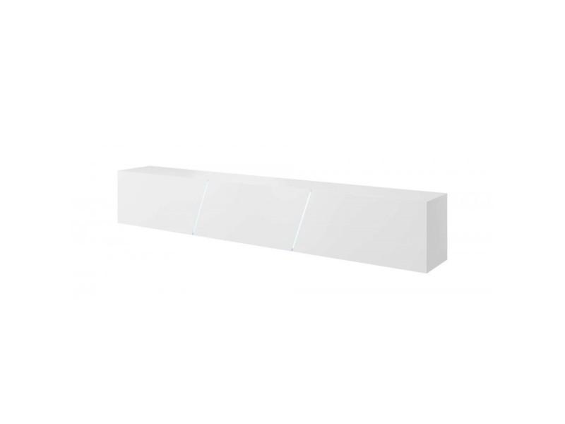 Meuble tv design speed, 240 cm, 1 porte, 3 espaces de rangement, coloris blanc mat et blanc brillant + led bleu.
