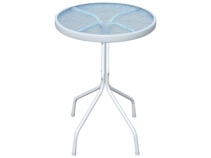 Vidaxl table d'extérieur ronde 50 x 71 cm acier gris 43313