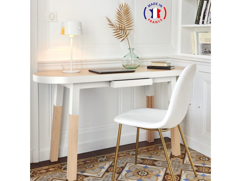 Bureau console 100% frêne massif 140x45 cm blanc balisson - 100% fabrication française