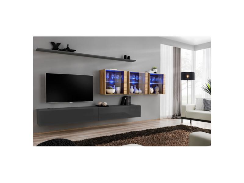 Ensemble mural - switch xvii - 3 vitrines led - 2 banc tv - 2 étagères - bois et graphite - modèle 2