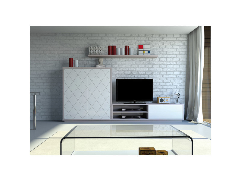 meuble tv biblioth que braga c13 io 18807 vente de meuble tv conforama. Black Bedroom Furniture Sets. Home Design Ideas