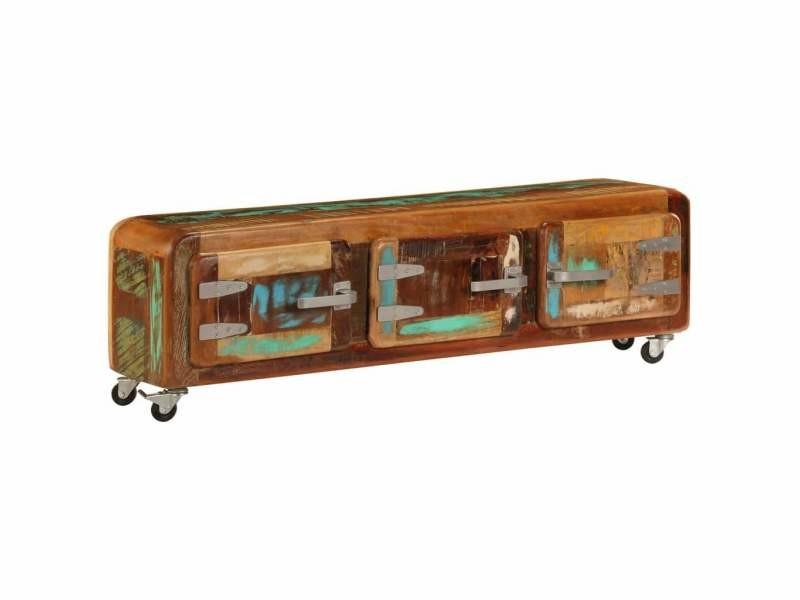 Meuble télé buffet tv télévision design pratique 120 cm bois de récupération massif helloshop26 2502284