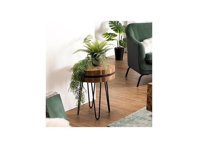 Table d'appoint bois ronde 45x45cm teck recyclé cerclée métal pieds épingles métal