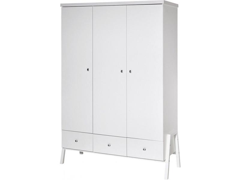Armoire bébé 3 portes bois laqué blanc holly white l 127 x h 191 x p 53 cm 06 915 02 02