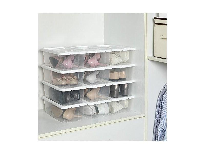 Lot de 12 boîtes à chaussures transparente avec couvervcle