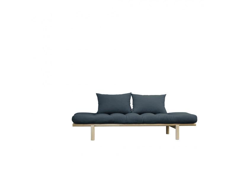 Sofa en pin massif naturel matelas bleu pétrole 75x200 coussins 40x60 inclus
